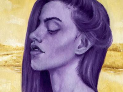 purple portrait oil painting illustration fine art portrait art