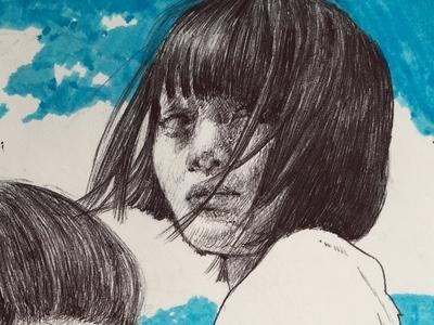 ink sketch drawing illustration fine art portrait art