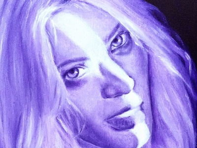 Purple In The Morning: Portrait painting design monochromatic oil painting portrait drawing illustration fine art art