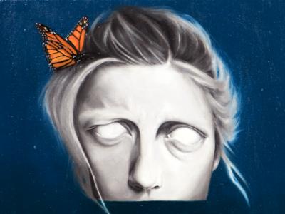 Monarch Dreams: Detail design ascetic butterfly surrealism oil painting portrait drawing illustration fine art art