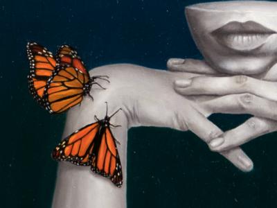 Monarch Dreams: Detail surrealism butterfly ascetic painting design oil painting portrait drawing illustration fine art art