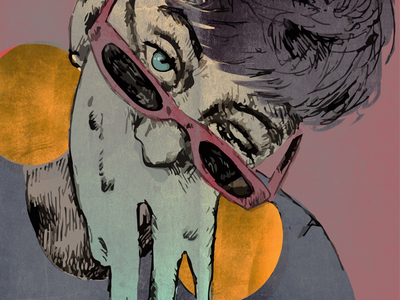 Melting face wink glasses pixie sketch drawing edgy creepy surreal gold illustration portrait melting