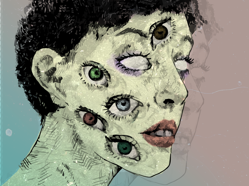 Psychedelic perspectives sketch drawing edgy surreal witch magic portrait illustration cyclopes eyes creepy psychedelic