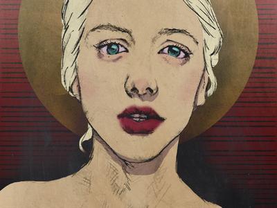Sinner and a Saint worship creepy devil red lips religion religious sin sinner sketch drawing digital illustration portrait saint
