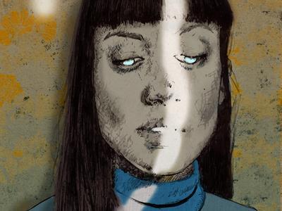 Light Beam dark magic witch creepy surreal digital sketch drawing blue eyes portrait lighting illustration light beam light