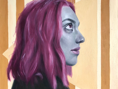 Average Day in Paradise wood painting oil profile geometric pink surreal fine art illustration art portrait