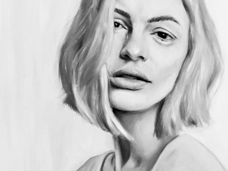 White Haze monochromatic ascetic design painting oil painting fine art art drawing portrait illustration