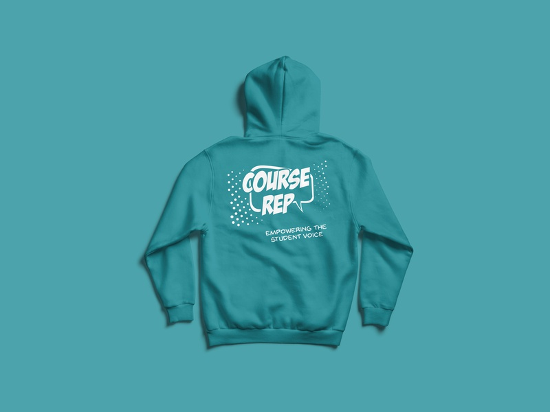 Course Rep Hoodie popart repeat university vector screenprint hoodie logo brand illustration