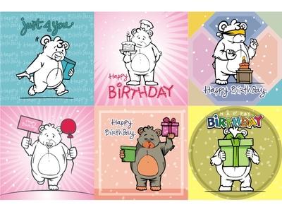 Cartoon bear characters birthday