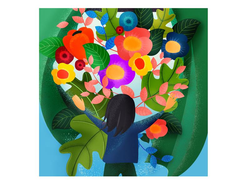 The Flowers plant hope optimistic design art future sunlight summer curtain window flower flat character illustration