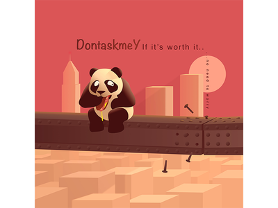 No Need To Worry eat high city concern worry red danger hungry panda