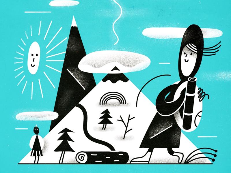 Krasnaya Polyana adventure trip mountains mountain characterdesign character illustration vector