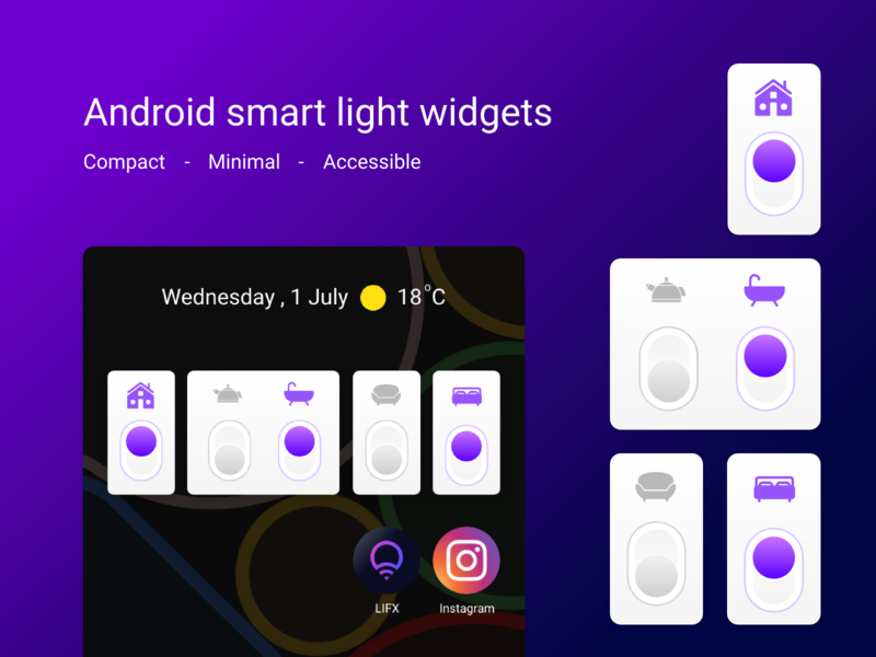 Android smart light widgets minimal icon ux ui lights light android widget android widgets widget smart home smart light