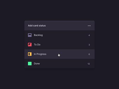 Add card status screen in dark mode icon design web design app screen ux ui