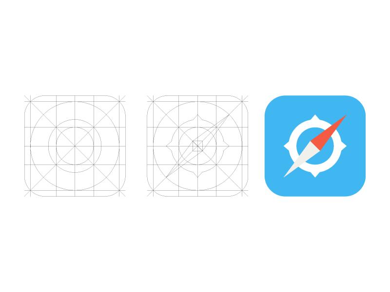 iOS 7 Safari Icon and grid ios 7 icon safari grid ios ios7