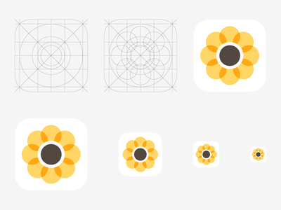 iOS 7 Photo Icon and vector grid