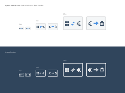 Payment Method Icons transfer cash blue fintech bank icon payment pay