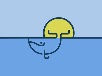 Whale sun icon illustration whale