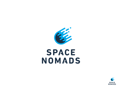 Space Nomads branding logotype blue nomads space brand logo