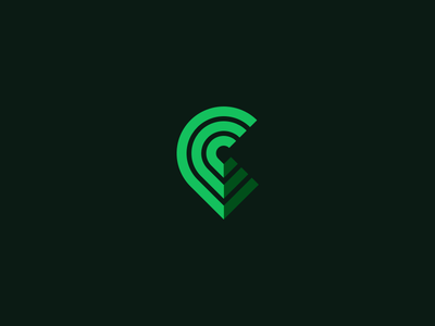 C-Pin logo icon map pin c