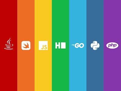 Celebrating Pride with Developers happy 2020 adobe illustrator logos branding python javascript coders coding programming developers graphic design lgbtq diversity gender pride rainbow design