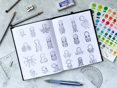 Logo Character Sketching agency marketing brand branding logo colors iconography sea animal sketching pencil illustration ocean animal logo icon drawing sketch logo design branding logo designs logo design octopus