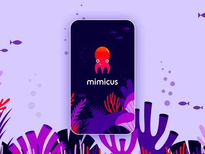 Mimicus - Logo & Branding underwater red mobile orange purple animal modern simple splash screen motion octopus icon gradient animation logo branding design