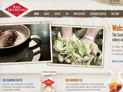 Coffee & Tea ui navigation grunge css3 html5 brown helvetica league gothic layout website