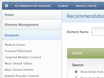 Recommendation Manager ui blue green navigation breadcrumb
