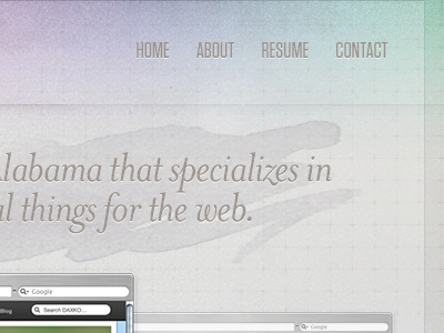 CW Personal Site navigation tungsten mrs. eaves typography design texture
