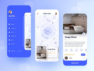 Wisdom public toilets mobile ui ux design icon app