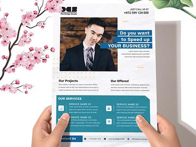 Dev Corporate Business Flyer V03 modern marketing magazine green elegant design creative corporate company clean flyer business blue agency advertising advertise a4 studio devdesign dev