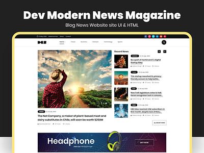 Dev Modern News Magazine Blog Website UI Template ux ui design dev devdesign studio tech news blog magazine tempalte news theme journal health news game news bracking news