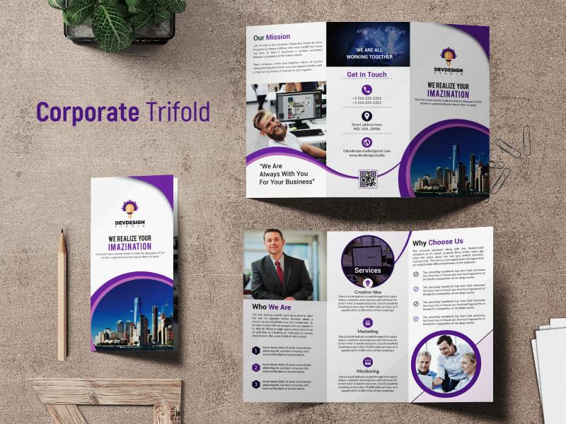 Corporate Trifold Brochure by Dev Design Studio on Dribbble