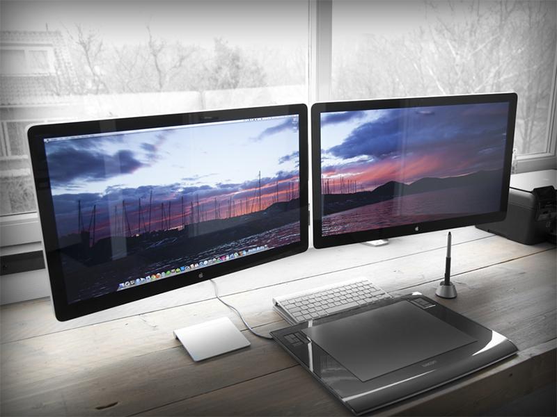 Development Workspace workspace office studio apple thunderbolt display design desktop