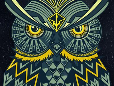 Owl owl animal pattern geometric graphic illustration