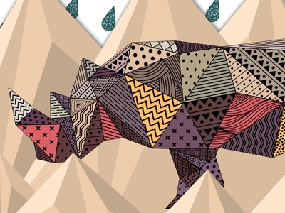 Rhino rhino animal pattern polygon graphic illustration
