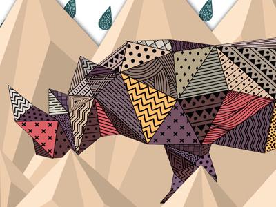 Rhino rhino animal pattern polygon graphic illustration