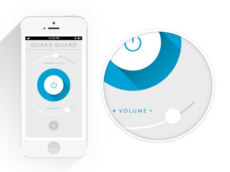 Quake App / Flat Design app apple button long shadow flat interface ios iphone slider mobile ui ux