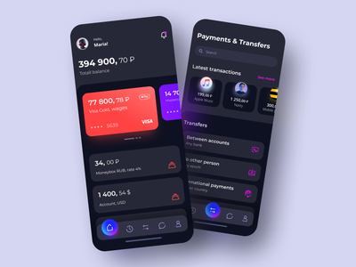 Banking App banking app balance transaction transfers payment cards bank android illustration product ios mobile design ui ux mobile app