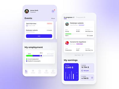 App for freelancers shop branding concept design app design ui ux upwork design freelancer freelance board jobs working careers ios mobile design mobile app