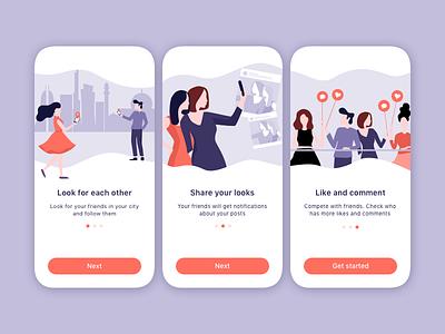 Onboarding men woman new sketch social people app onboarding mobile illustration ui