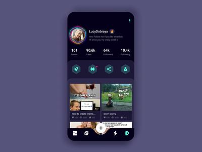 Social App (Profile) app design follow mobile design social networking dark mode account ux networking social money tasks post concept mobile app ui mems profile ios android