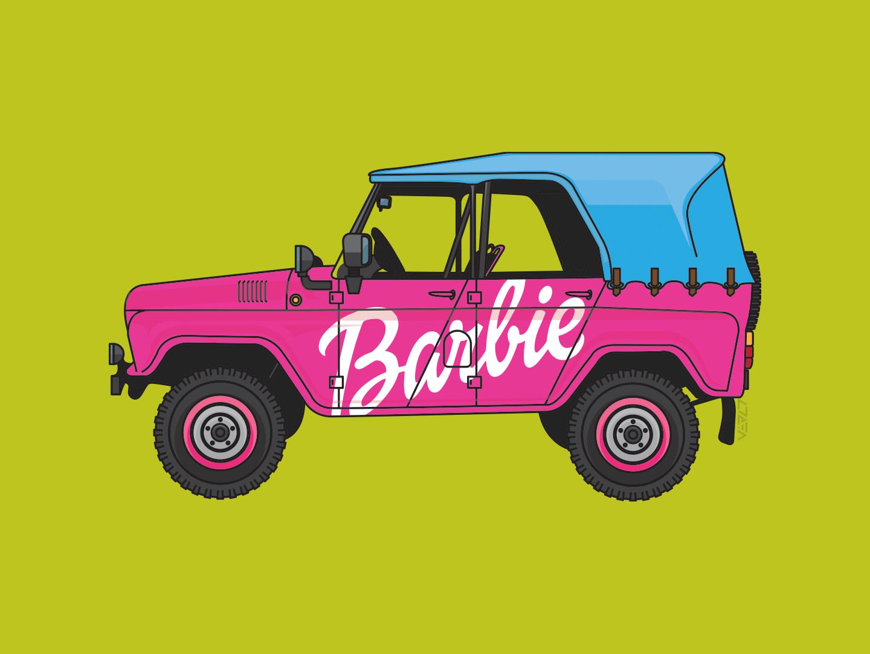 UAZ 469 - Barbie edition redesign barbie uaz design vector illustration