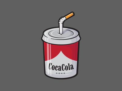 COKE - SMOKE softdrink cigarette smoking smoke marlboro cocacola cola redesign vector illustration design