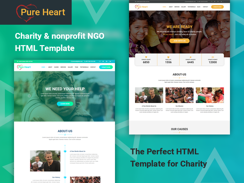 pureheart charity nonprofit html template by dot themes