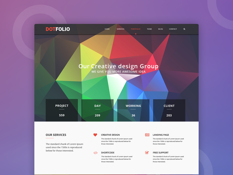 DotFolio – Corporate business psd template (Freebie) one page polygon colorful free psd freebie dotthemes protfolio freelancing agency creative design web template business