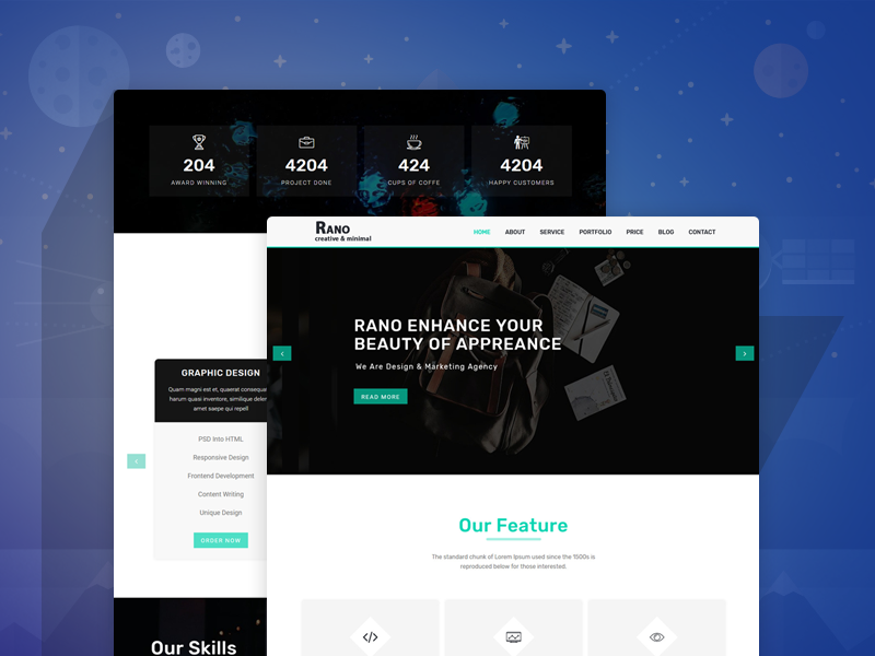Rano Onepage Parallax Html Template By Dot Themes Dribbble