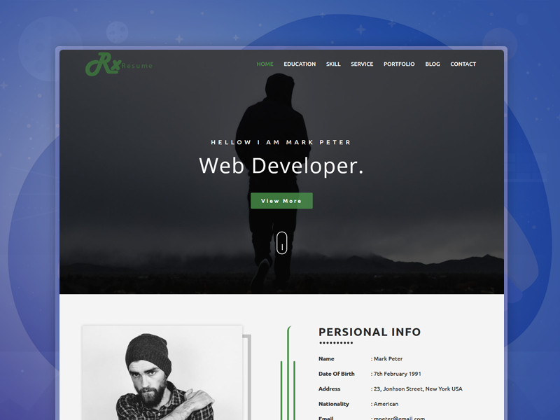 Rx-Resume – Parallax Resume Template by Dot themes on Dribbble