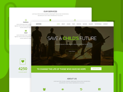 Givvo – Charity Website Template organization ngo donations campaign buddha charity template refugee non profit donation crowd funding charity theme charity